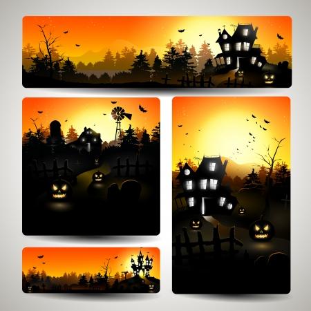 Set van vier Halloween banners - vector illustratie
