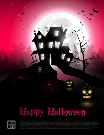 halloween background: Scary house in the woods - Halloween poster with copyspace