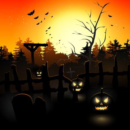 Scary graveyard at sunset - Halloween background Vector