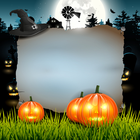 Halloween background with empty paper and with scarry farm with pumpkins on the background