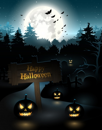 Scary graveyard in the woods with pumpkins and sign Vector
