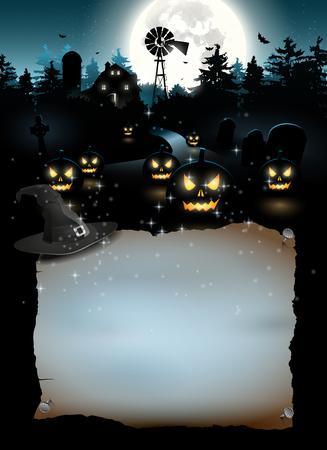 halloween poster: Farmhause spaventoso nei boschi - Halloween poster con copyspace