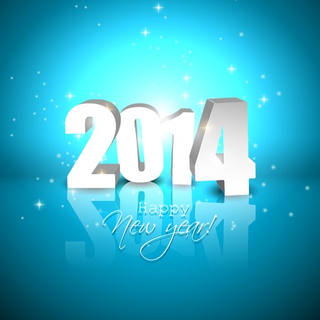 Happy New Year 2014- blue greeting card with 3D numbers
