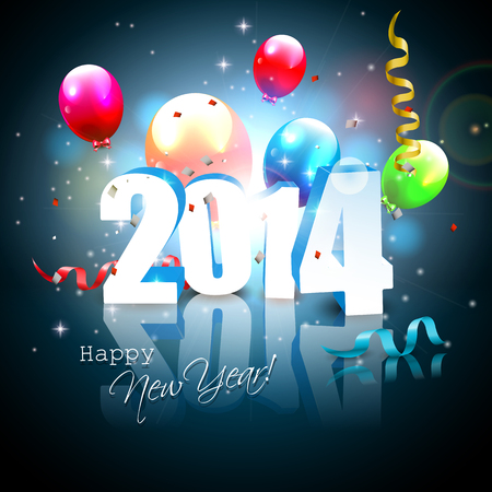 Happy new Year- colorful greeting card with flying balloons Vector