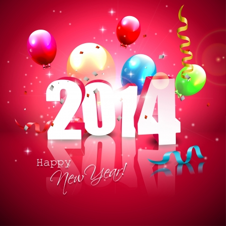 sylvester: Happy new Year- colorful greeting card with flying balloons