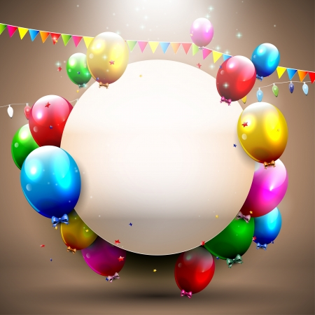 Brown birthday background with colorful balloons and place for text