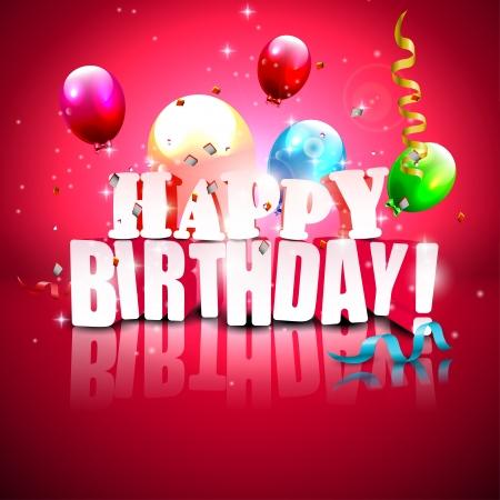 bambini felici: Realistico manifesto di compleanno lucido con palloncini in volo su sfondo rosso Vettoriali