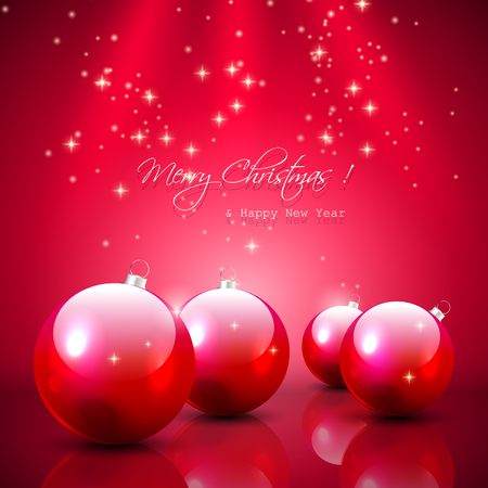 christmas bubbles: Luxury red Christmas background with baubles