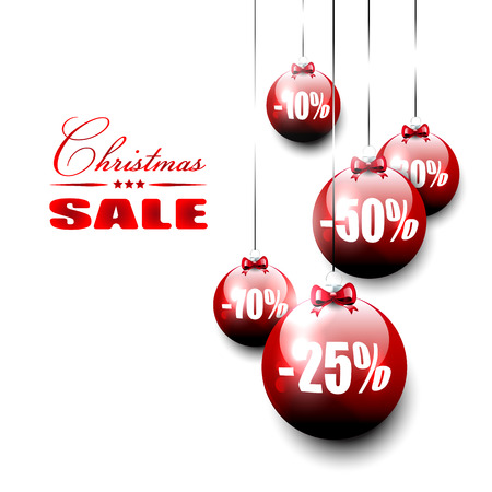 christmas promotion: Christmas sale -vector background with red baubles on isolated background     Illustration