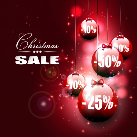 christmas shopping: Red Christmas baubles on red background - Christmas sale   Illustration