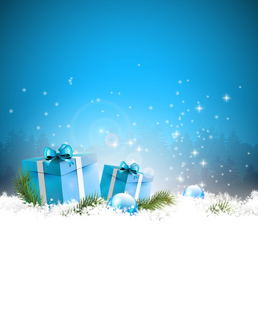 Christmas background with gift boxes in snow