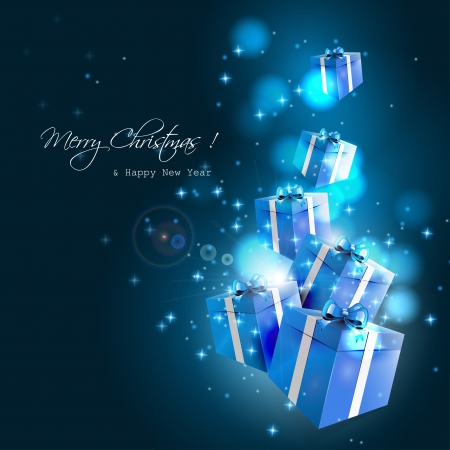 Modern Christmas greeting card with flying blue gift boxes on dark background Vector