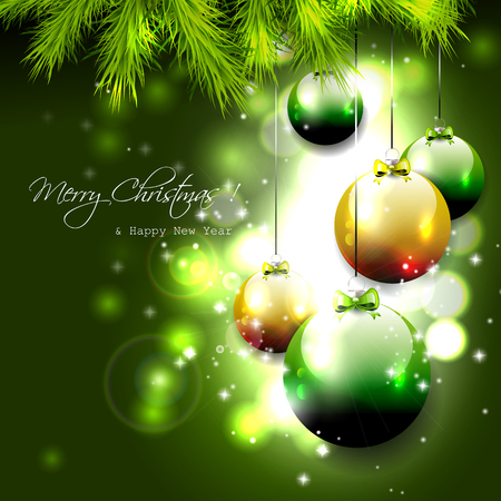 sylvester: Luxury green Christmas background with baubles   Illustration