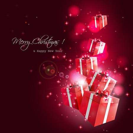 Modern Christmas greeting card with flying red gift boxes on dark background