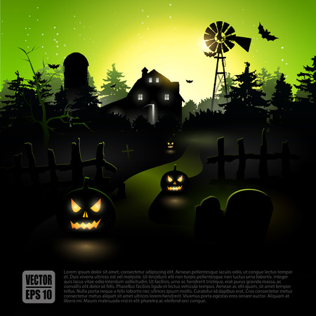 scare: Haunted farmhouse in the woods - Halloween poster   Illustration
