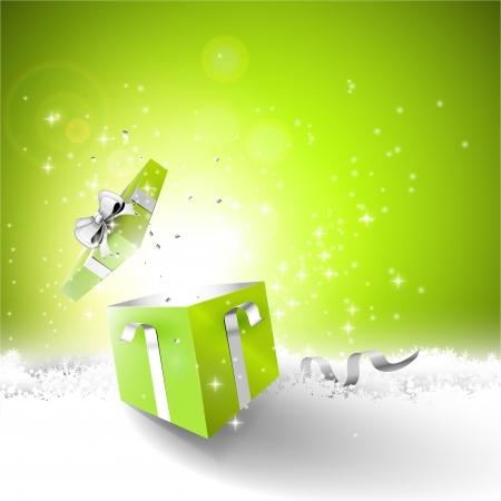 present: Offene Geschenk-Box auf dem Schnee - Weihnachten Hintergrund Illustration