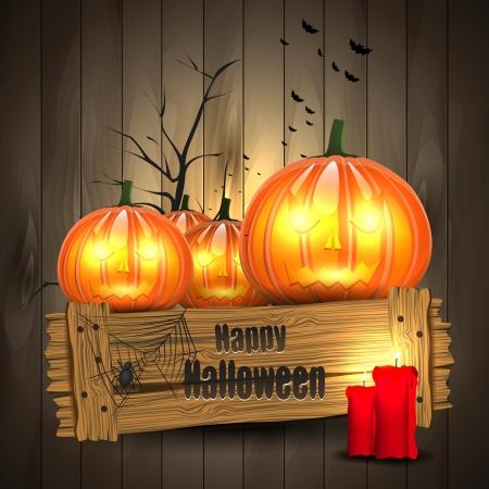 calabazas de halloween: Tarjeta de felicitaci�n de Halloween con las calabazas en el fondo de madera