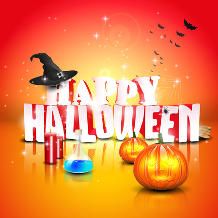 3d halloween: Modern halloween greeting card - vector template Illustration