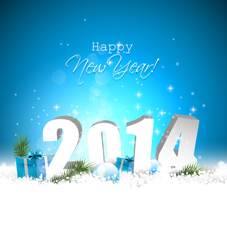 Happy new Year 2014 - blue greeting card Vector