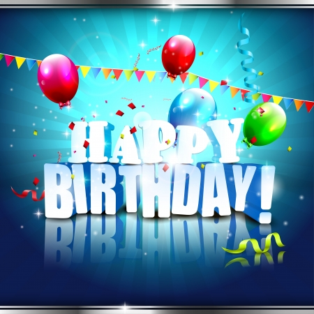 Realistic colorful Birthday poster with balloons and 3D text - vector background