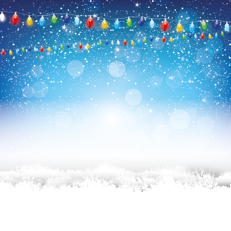 background: Blue Christmas background with lights and snow