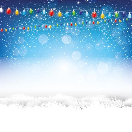 vacaciones: Fondo azul de la Navidad con las luces y la nieve Vectores