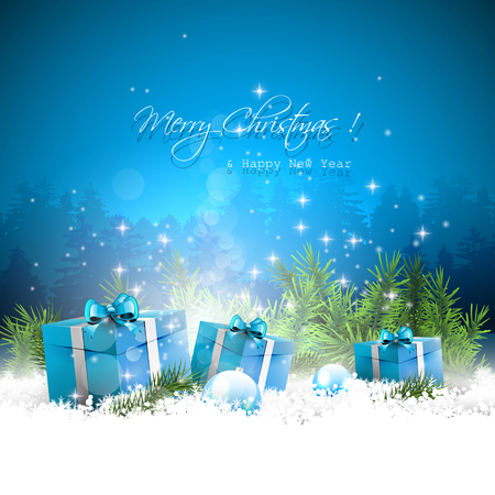 blue christmas background: Christmas greeting card with gift boxes and branches in snow Illustration
