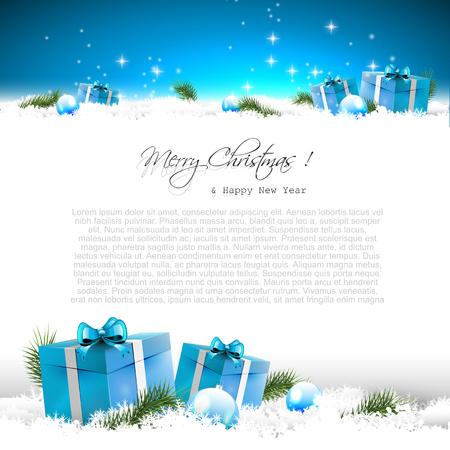 background: Carte de voeux bleue de Noël avec les coffrets cadeaux et des branches dans la neige et la place pour le texte