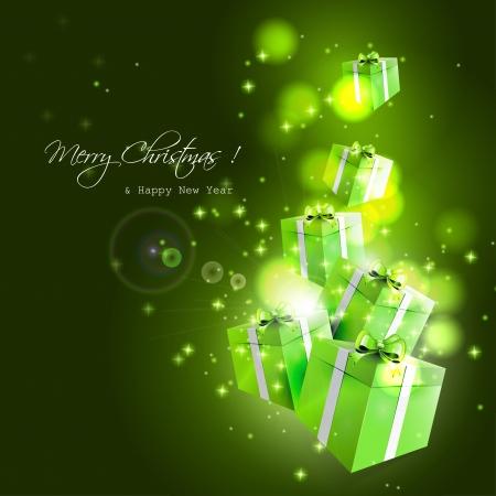 fond sombre: Moderne carte de voeux de No�l vert avec des cadeaux de vol sur fond sombre