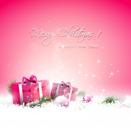 christmas pink: Pink Christmas greeting card with gift boxes and branches in snow