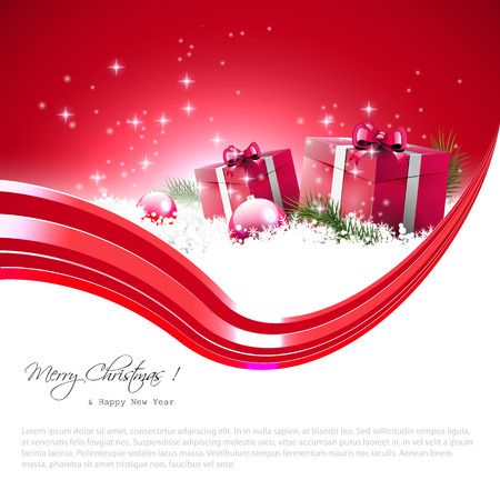 Modern red Christmas background with gift boxes, baubles and place for text