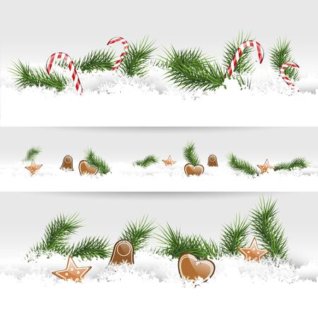 Set of three Christmas borders with gingerbreads and branches   Vector