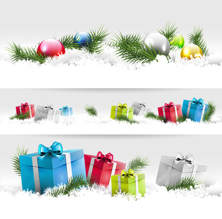 Set of three Christmas borders with gift boxes and branches   Vector