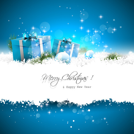 sylvester: Blue Christmas greeting card with gift boxes and branches in snow and with place for text