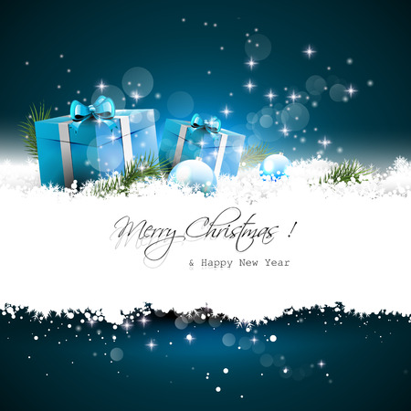 christmas backdrop: Blue Christmas greeting card with gift boxes and branches in snow and with place for text