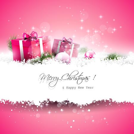 ピンクのクリスマスのグリーティング カード ギフト ボックスと雪の中で枝およびテキストのための場所