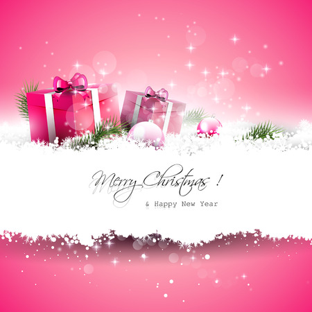 christmas decorations with white background: Pink Christmas greeting card with gift boxes and branches in snow and with place for text