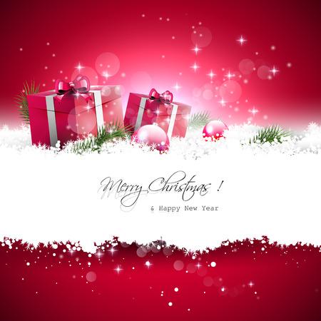 for text: Biglietto di auguri di Natale rosso con scatole regalo e rami in neve e con il posto per il testo