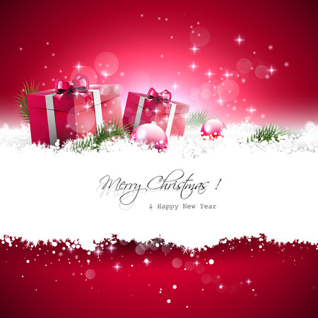 christmas decorations: Red Christmas greeting card with gift boxes and branches in snow and with place for text