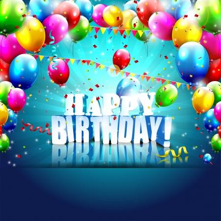 kutlama: Balonlar ve 3D metin ile gerçekçi renkli Doğum Günü posteri Çizim