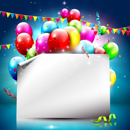 confetti background: Birthday background with colorful balloons and empty paper   Illustration