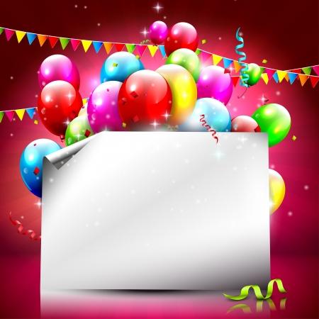 다채로운 풍선과 빈 종이 생일 배경 일러스트