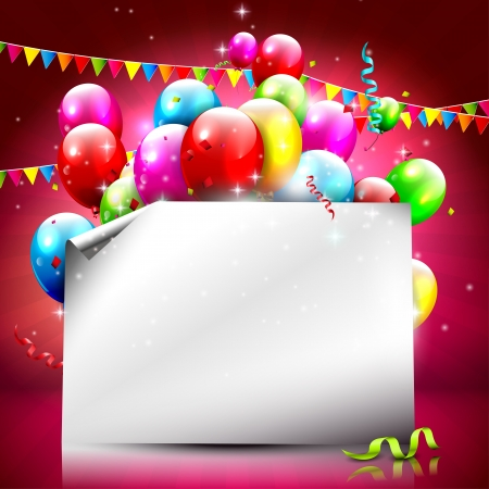 happy kids playing: Birthday background with colorful balloons and empty paper   Illustration