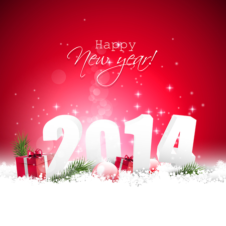 Happy new Year 2014 - red greeting card     Vector