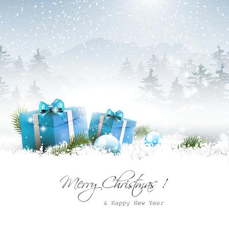 reflexe: Bo�tes de cadeau de No�l et de branches dans le paysage d'hiver - vecteur de fond