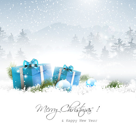 sylvester: Christmas gift boxes and branches in winter landscape - vector background