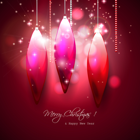 Luxury Christmas greeting card with glass decorations Stock Vector - 23642603