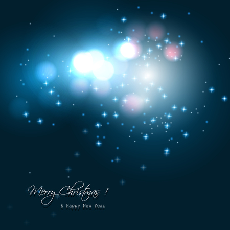 greetingcard: Christmas blue background with colorful lights