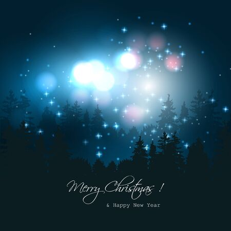 Christmas blue background with colorful lights and trees Stock Vector - 23872910