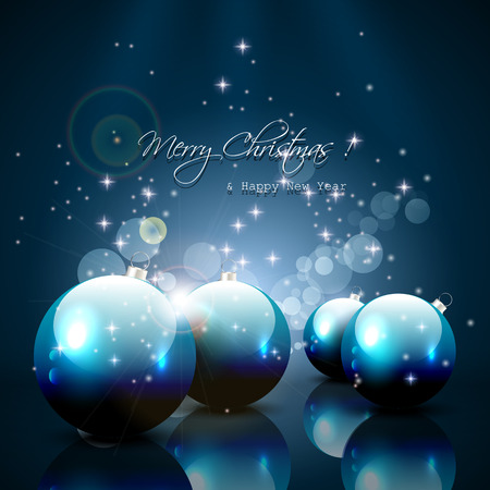 sylvester: Modern Christmas greeting card with balls and gifts